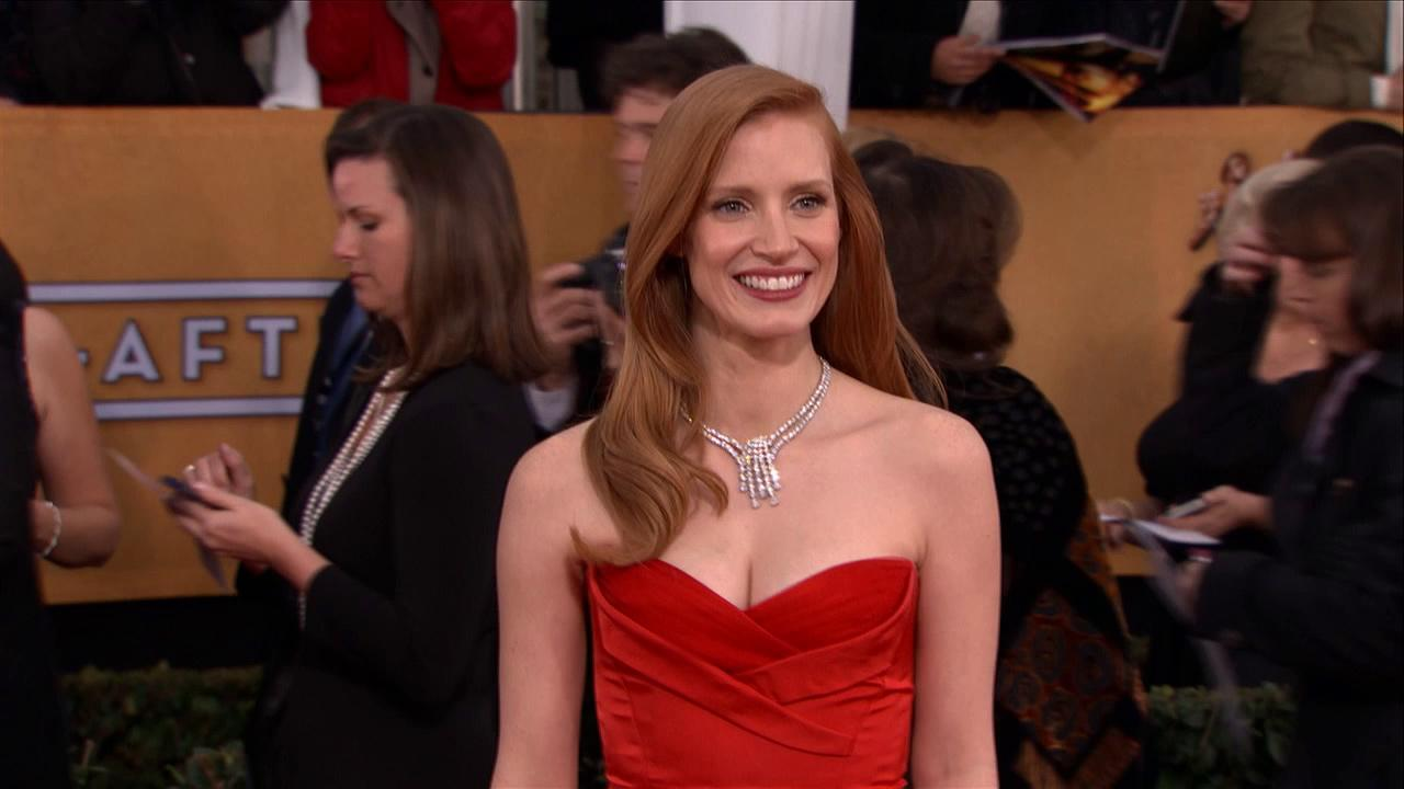 Jessica Chastain poses on the red carpet at the 2013 SAG Awards in Los Angeles on Jan. 27, 2013.