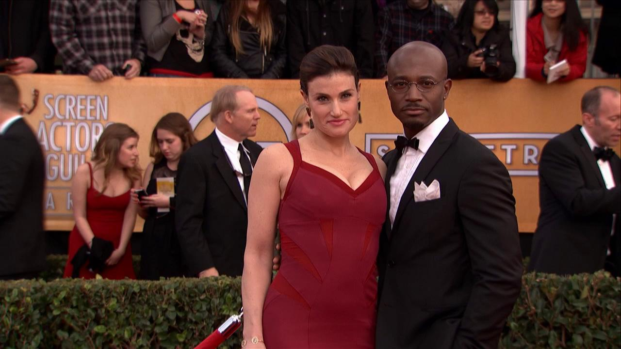 Taye Diggs and Idina Menzel pose on the red carpet at the 2013 SAG Awards in Los Angeles on Jan. 27, 2013.