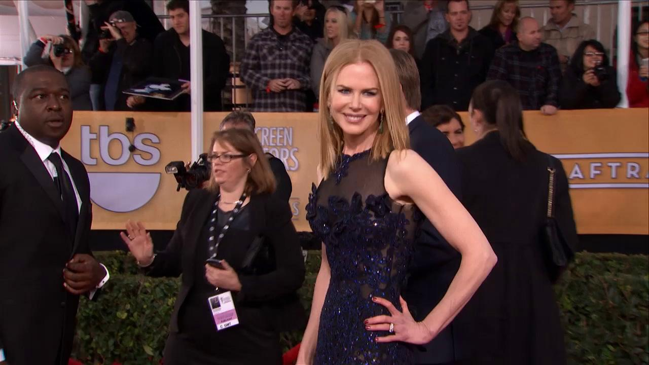 Nicole Kidman poses on the red carpet at the 2013 SAG Awards in Los Angeles on Jan. 27, 2013.