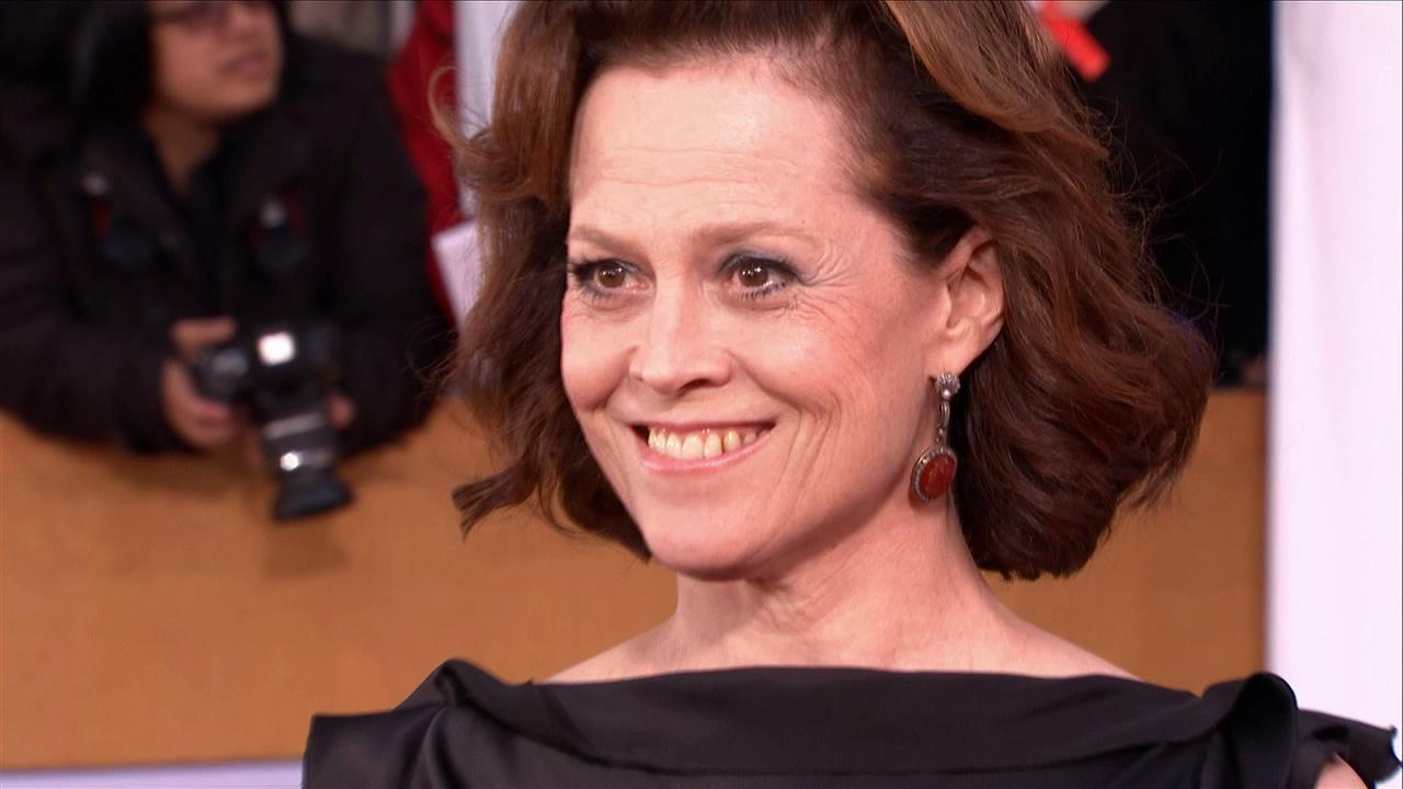 Sigourney Weaver poses on the red carpet at the 2013 SAG Awards in Los Angeles on Jan. 27, 2012.