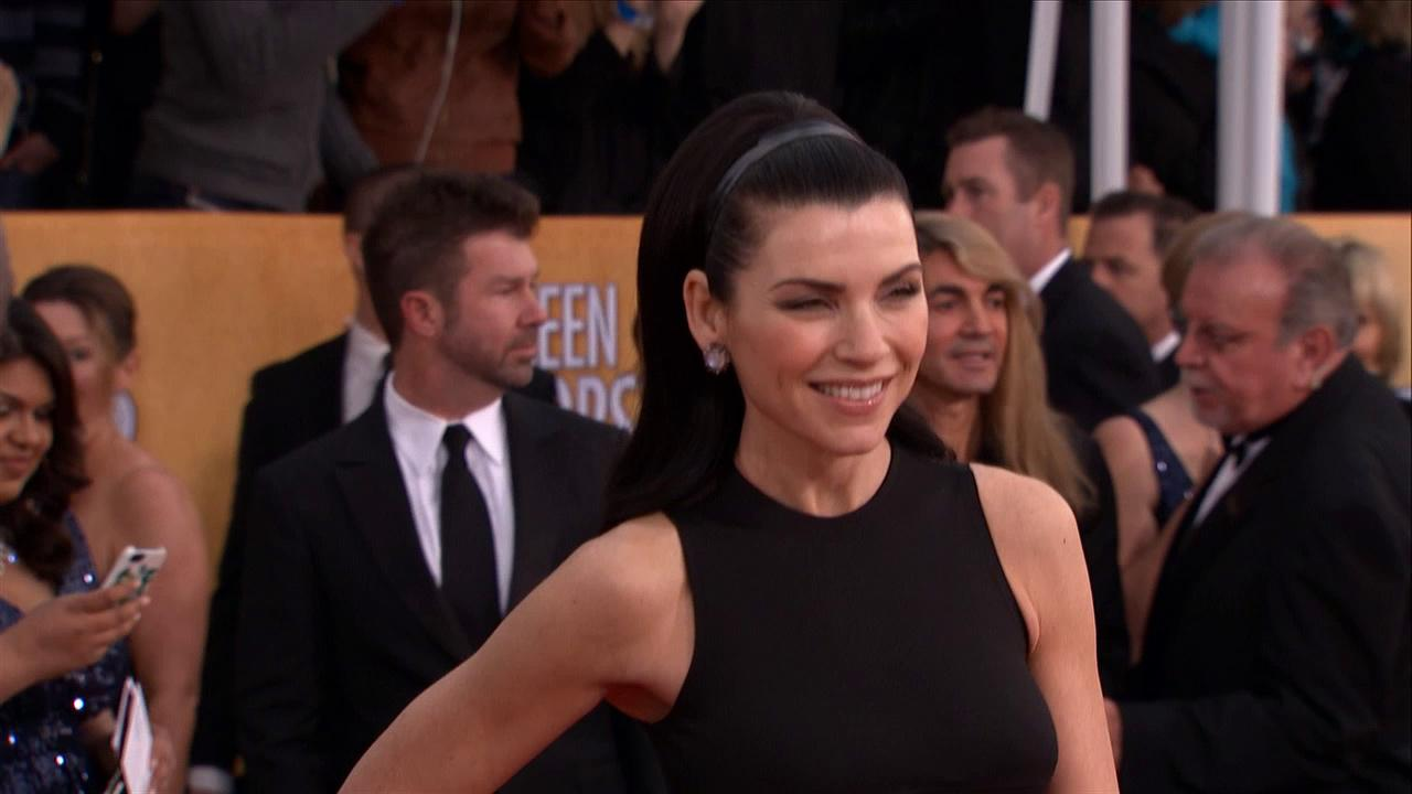 Julianna Margulies poses on the red carpet at the 2013 SAG Awards in Los Angeles on Jan. 27, 2012.