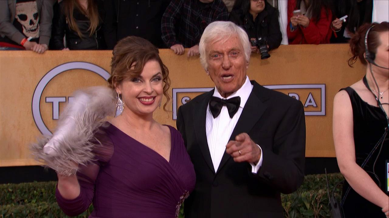 Dick Van Dyke, 87, and his wife, Arlene Silver,41, pose on the red carpet at the 2013 SAG Awards in Los Angeles on Jan. 27, 2013.