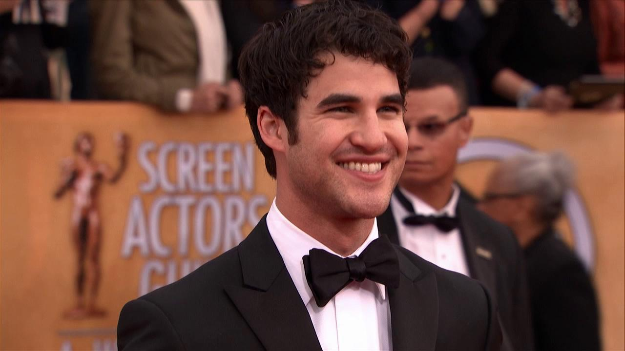 Darren Criss poses on the red carpet at the 2013 SAG Awards in Los Angeles on Jan. 27, 2012.