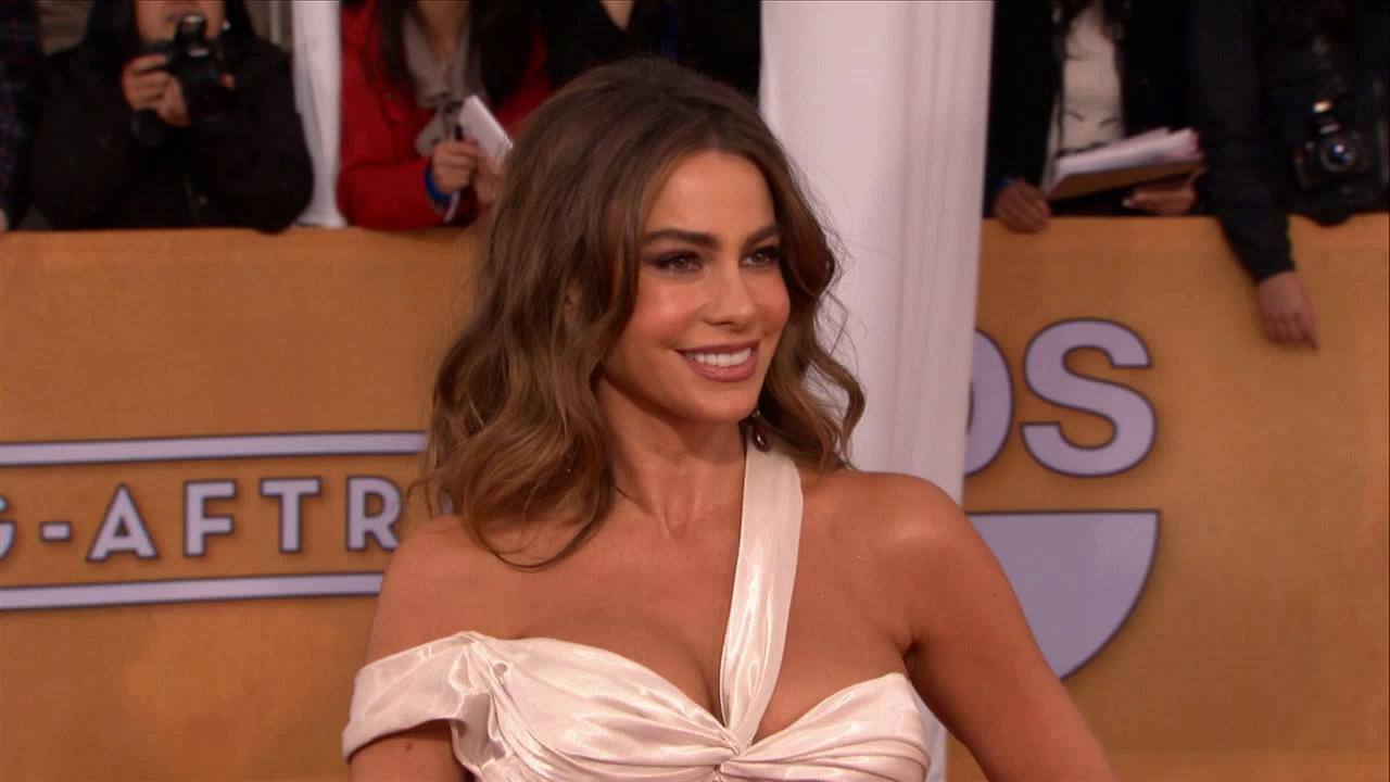 Sofia Vergara (Modern Family) poses on the red carpet at the 2013 SAG Awards in Los Angeles on Jan. 27, 2012.