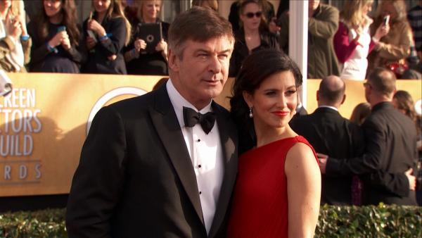 Alec Baldwin and wife Hilaria Thomas pose on the red carpet at the 2013 SAG Awards in Los Angeles on Jan. 27, 2012.