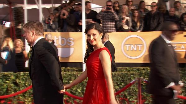 Alec Baldwin's wife Hilaria Thomas poses on the red carpet at the 2013 SAG Awards in Los Angeles on Jan. 27, 2012.
