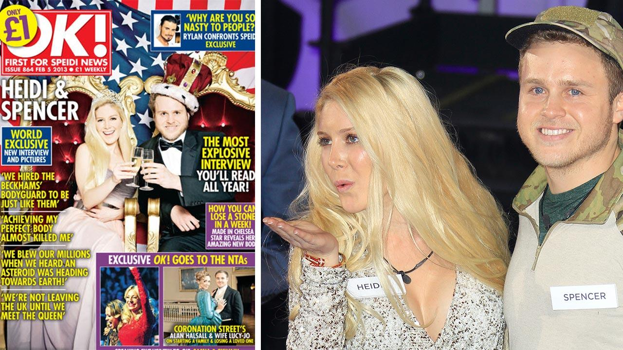 Heidi Montag and Spencer Pratt appear on the cover of OK! magazine in January 2013. / Heidi Montag and Spencer Pratt arrive at the Big Brother house at Elstree Studios in northwest London on Jan. 4, 2013.