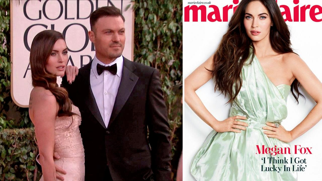 Megan Fox and husband Brian Austin Green appear at the 2013 Golden Globe Awards in Beverly Hills, California on Jan. 13, 2013. / Fox appears on the March 2013 cover of Marie Claire.
