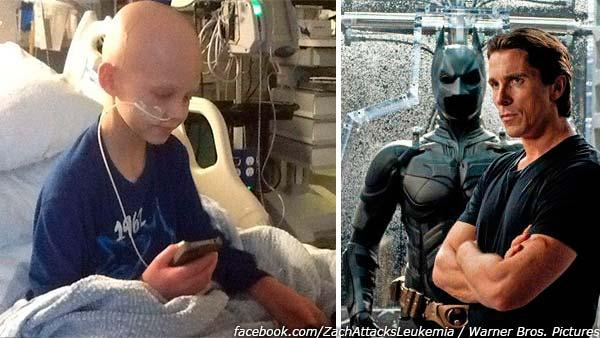 Zach Guillot, an 8-year-old cancer patient, talks to Christian Bale on the phone, as seen in this photo posted on the childs Facebook page. / Christian Bale appears in a scene from the 2012 film The Dark Knight Rises. - Provided courtesy of facebook.com/ZachAttacksLeukemia / Warner Bros. Pictures