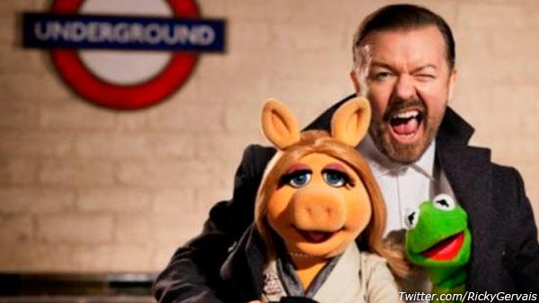 Ricky Gervais appears in a promotional photo for the 2014 film The Muppets ... Again! - Provided courtesy of Twitter.com/RickyGervais