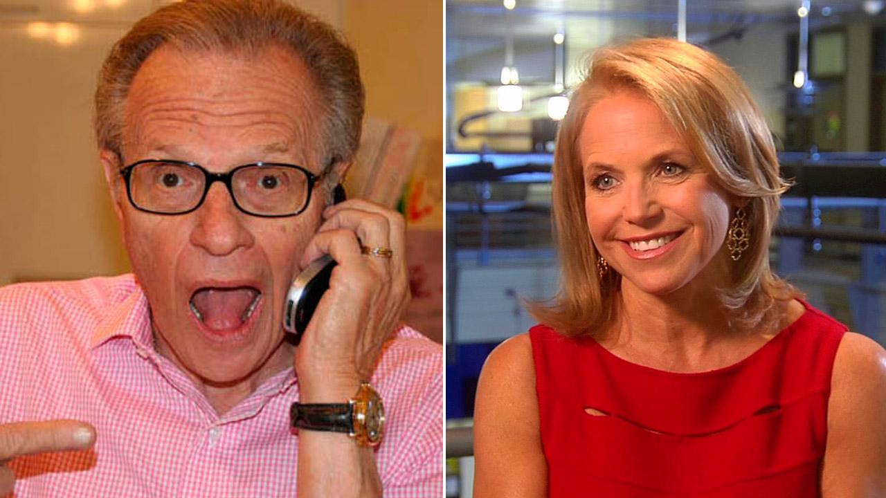 Larry King appears in an undated photo featured on his official Twitter account. / Katie Couric talks to OnTheRedCarpet.com about her new ABC talk show Katie on August 22, 2012.