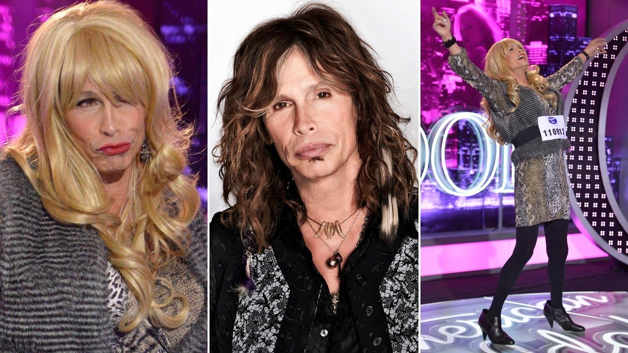 Steven Tyler appears on the January 31, 2013 episode of American Idol dressed in drag. / Tyler in a 2012 promotional photo for American Idol season 11.