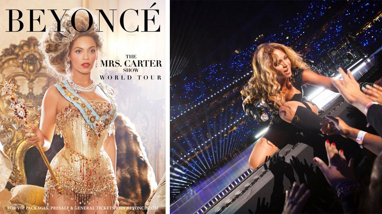 Beyonce appears in an ad for her 2013 Mrs. Carter Show World Tour. / Beyonce performs during the Super Bowl halftime show on Feb. 3, 2013.