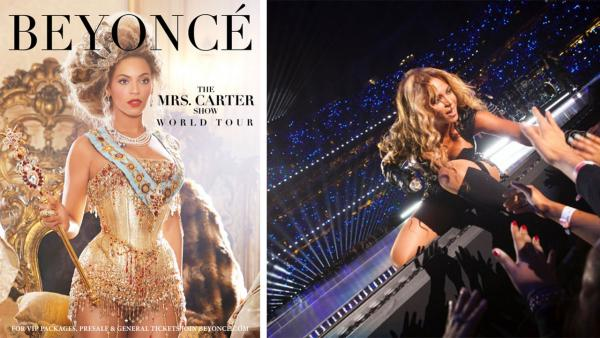 Beyonce appears in an ad for her 2013 Mrs. Carter Show World Tour. / Beyonce performs during the Super Bowl halftime show on Feb. 3, 2013. - Provided courtesy of iam.beyonce.com