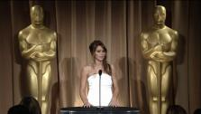 Jennifer Lawrence talks to the press at the 85th Academy Awards Nominees Luncheon on February 4 at the Beverly Hilton hotel.