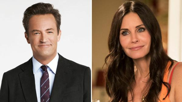 Matthew Perry appears in a promotional photo in 2012 for Go On. / Courteney Cox appears in a still from the 2013 season of Cougar Town. - Provided courtesy of NBC / TBS