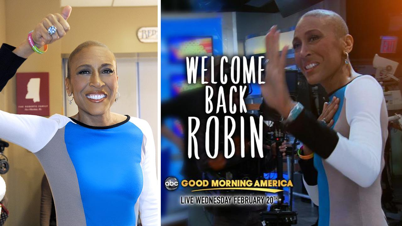 Robin Roberts is pictured during a visit to ABCs Good Morning America on Jan. 24, 2013. She will return to the anchor desk on February 20.