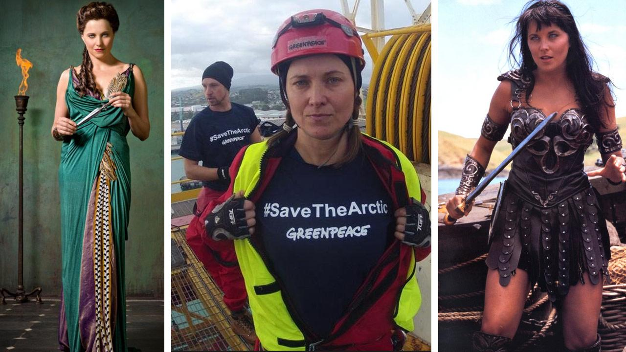 Lucy Lawless is pictured in a publciity photo for Starzs Spartacus: Vengeance. / Lawless participates in a Greenpeace protest in February 2012. / Lawless appears in a scene from Xena: Warrior Princess.