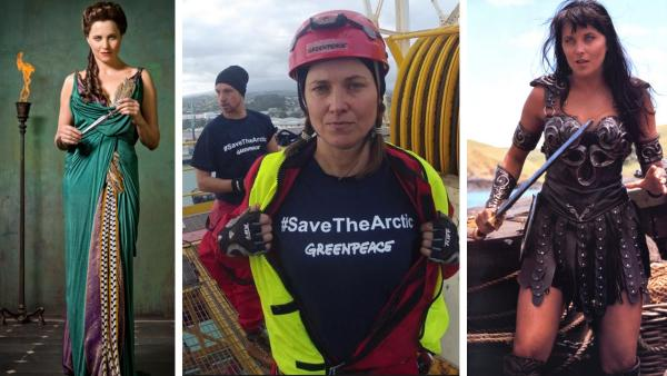 Lucy Lawless is pictured in a publciity photo for Starzs Spartacus: Vengeance. / Lawless participates in a Greenpeace protest in February 2012. / Lawless appears in a scene from Xena: Warrior Princess. - Provided courtesy of Starz / Greenpeace New Zealand / twitter.com/GreenpeaceNZ/status/299400203902001152/photo/1 / Universal Studios