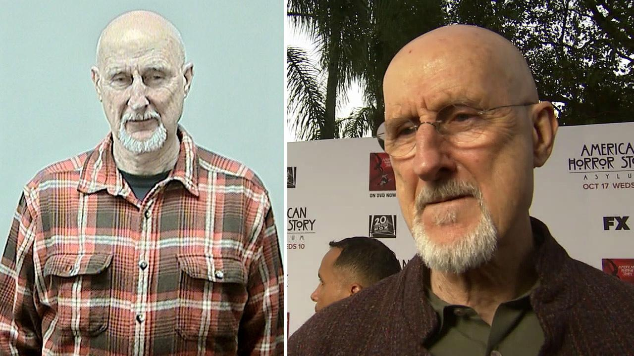 James Cromwell appears in a mug shot after his Feb. 7, 2013 arrest, after protesting against animal testing at the University of Wisconsin. / James Cromwell talks to OTRC.com at the American Horror Story premiere on Oct. 13, 2012.