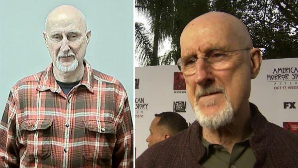 James Cromwell appears in a mug shot after his Feb. 7, 2013 arrest, after protesting against animal testing at the University of Wisconsin. / James Cromwell talks to OTRC.com at the American Horror Story premiere on Oct. 13, 2012. - Provided courtesy of Dane County Sheriffs Office / OTRC