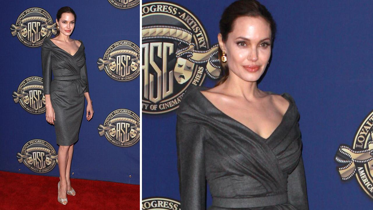 Angelina Jolie wears a gray Atelier Versace dress to the American Society of Cinematographers 27th Annual Outstanding Achievement Awards on Feb. 10, 2013.