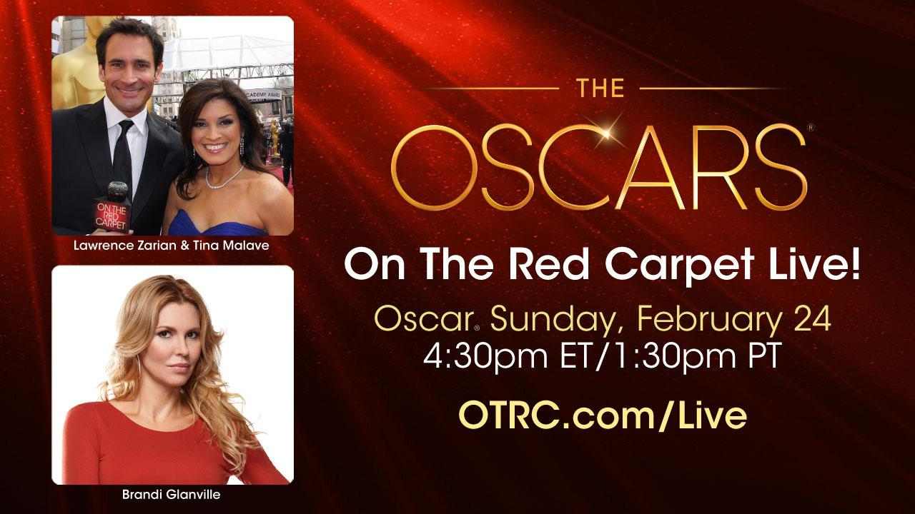 Lawrence Zarian, Tina Malave and Brandi Glanville appear in a publicity photo for the 2013 live stream show OTRC.com at the Oscars.