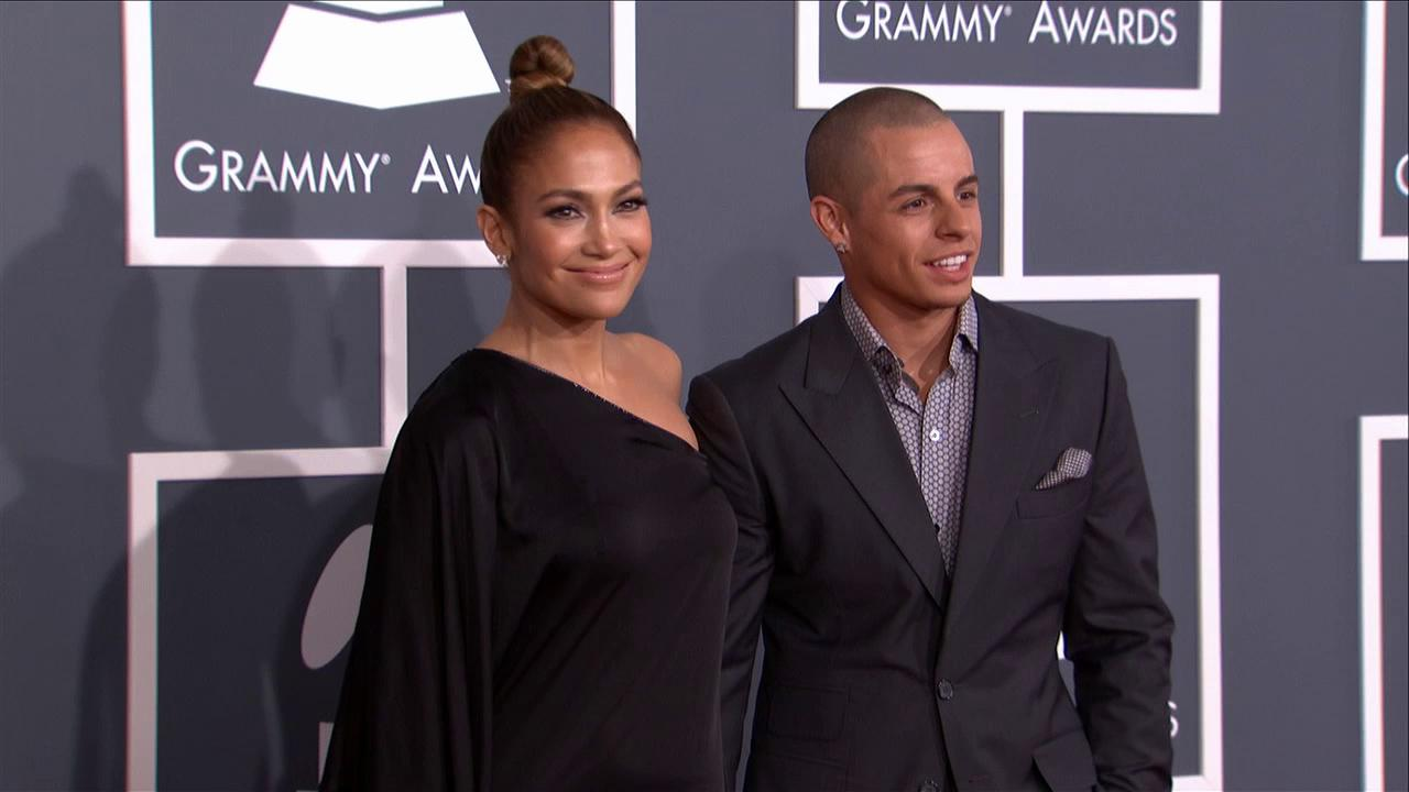 Jennifer Lopez and Casper Smart walk the red carpet at the 2013 Grammys on Feb. 10, 2013.