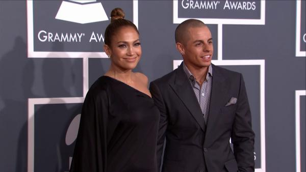 Jennifer Lopez and Casper Smart walk the red carpet at the 2013 Grammys on Feb. 10, 2013. - Provided courtesy of OTRC