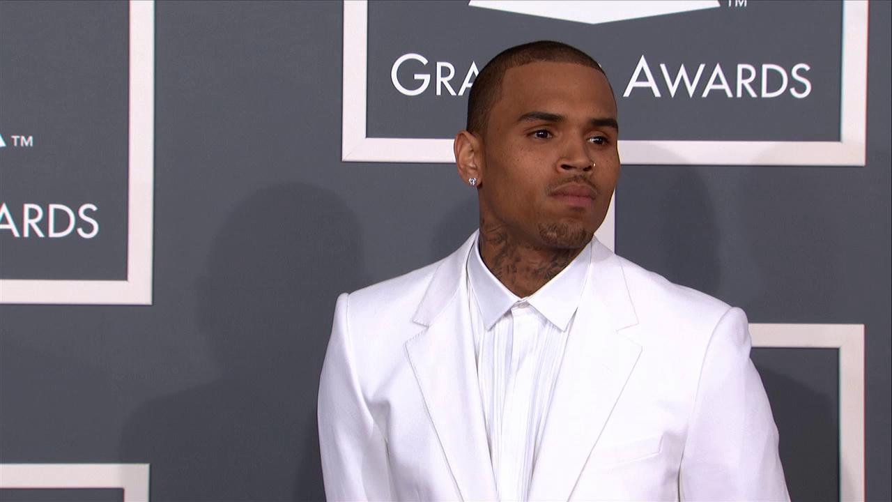 Chris Brown appears on the red carpet at the 2013 Grammys on Feb. 10, 2013.