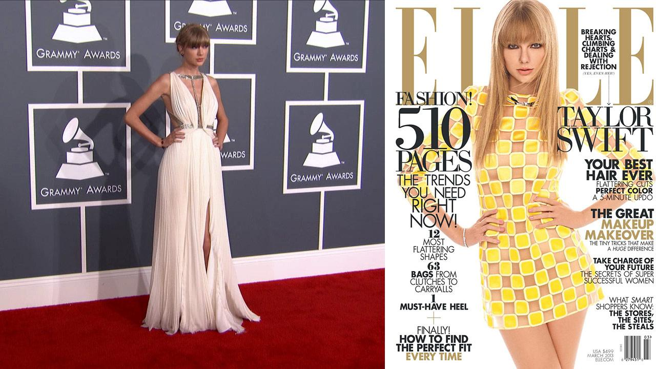Taylor Swift wears a Grecian gown on the 2013 Grammy Awards red carpet on Feb. 10, 2013. / Taylor Swift appears on the cover of ELLE magazines March 2013 issue.
