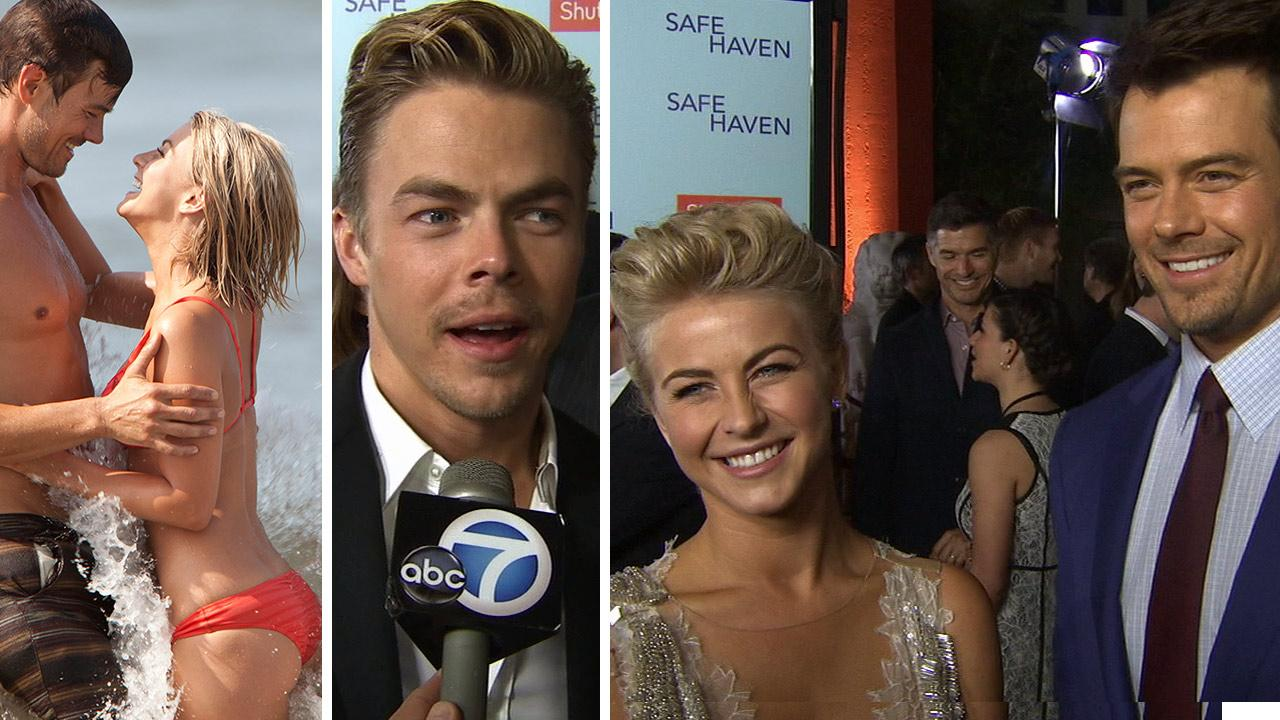 Julianne Hough and Josh Duhamel appear in scenes from the 2013 film Safe Haven. / Derek Hough, Julianne Hough and Josh Duhamel talk to OTRC.com at the premiere of Safe Haven on Feb. 5, 2013.
