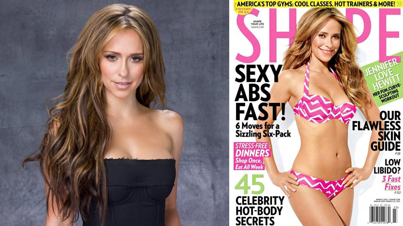 Jennifer Love Hewitt appears in an undated promotional photo for the second season of The Client List in 2013. / Hewitt appears on the March 2013 cover of Shape magazine.