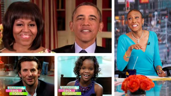 President Barack Obama and Michelle Obama and Bradley Cooper and Quvenzhane Wallis appear in videotaped messages welcoming Robin Roberts back on ABCs Good Morning America. / Robin Roberts appears on Good Morning America on Feb. 20, 2013. - Provided courtesy of ABC / Heidi Gutman