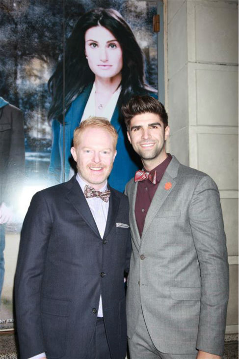 "<div class=""meta ""><span class=""caption-text "">Jesse Tyler Ferguson of 'Modern Family' fame and husband Justin Mikita 'attend the opening night of the new Broadway musical 'If/Then' at the Richard Rodgers Theatre in New York on March 30, 2014.  (Adam Nemser / Startraksphoto.com)</span></div>"