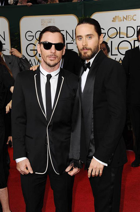 Jared Leto and his brother, Shannon Leto, arrive at the 71st annual Golden Globe Awards at the Beverly Hilton Hotel on Sunday, Jan. 12, 2014, in Beverly Hills, Calif.