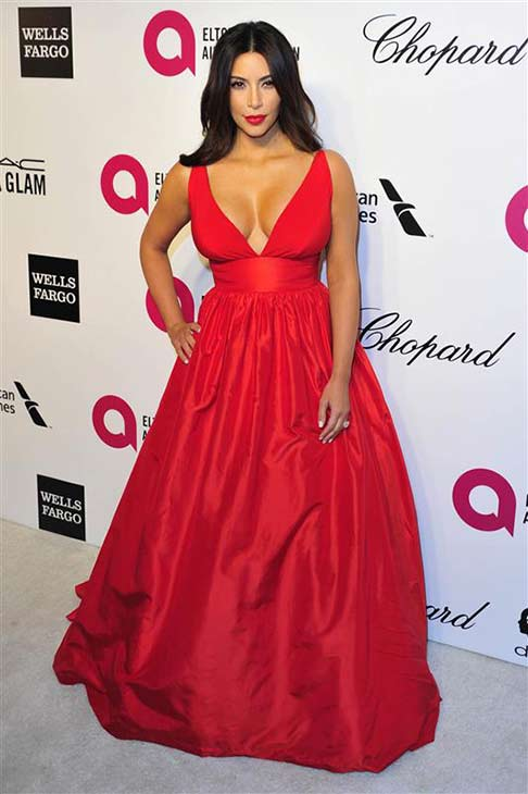 Kim Kardashian appears at the 2014 Elton John AIDS Foundation Oscar viewing party in Los Angeles on March 2, 2014.