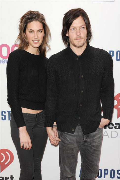 Norman Reedus, who plays Daryl Dixon on AMC&#39;s &#39;The Walking Dead,&#39; and swimsuit model Cecilia Singley walk the red carpet at the 2013 Z100 Jingle Ball on Dec. 13, 2013. <span class=meta>(Bill Davila &#47; Startraksphoto.com)</span>