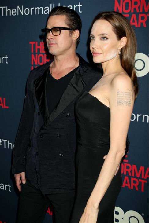 Angelina Jolie and Brad Pitt appear at the premiere of the HBO film &#39;The Normal Heart&#39; in New York on May 12, 2014. <span class=meta>(Dave Allocca &#47; Startraksphoto.com)</span>