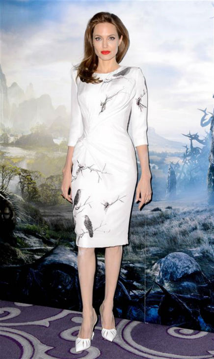 "<div class=""meta ""><span class=""caption-text "">Angelina Jolie appears at a photo call for 'Maleficent' in London on May 9, 2014. She is wearing a raven-print dress by Atelier Versace. (Richard Young / REX / Startraksphoto.com)</span></div>"