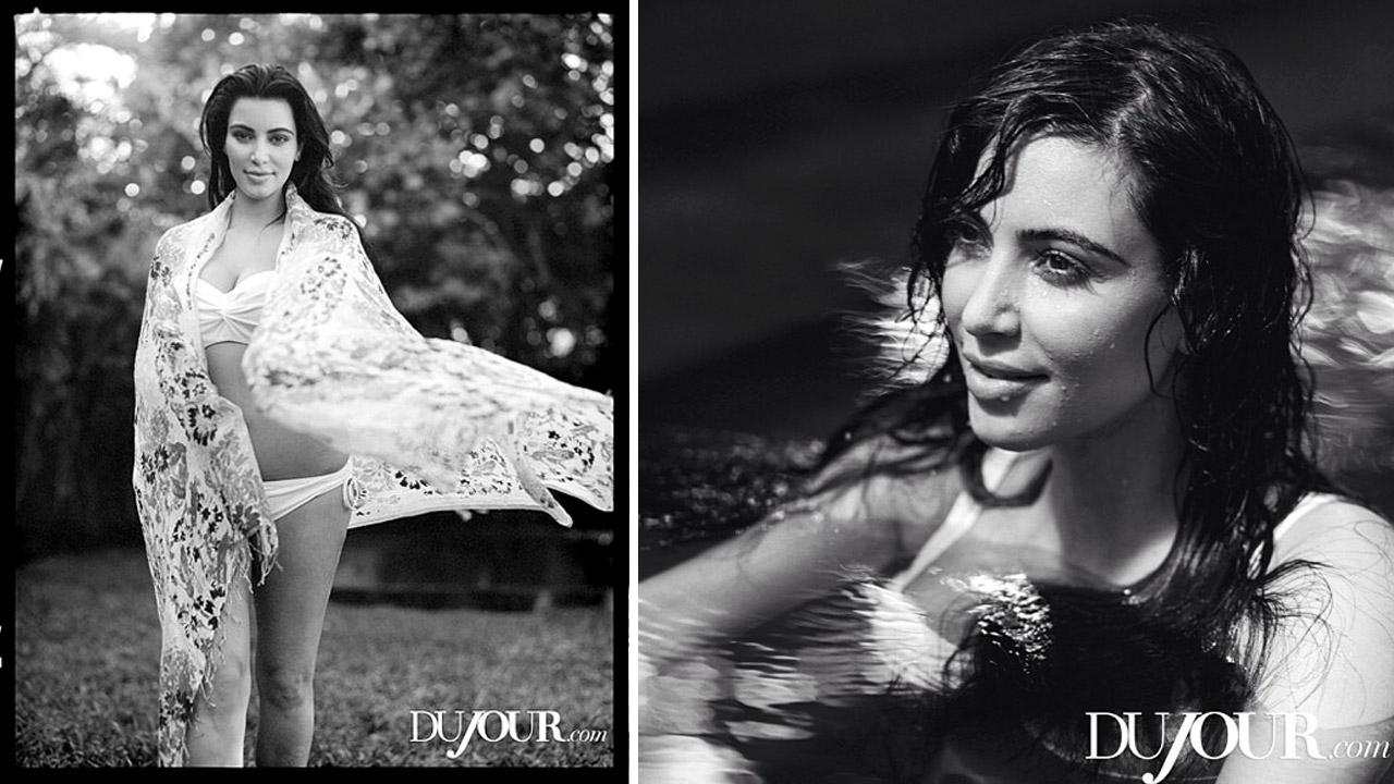 Kim Kardashian appears in a 2013 photo shoot for Dujour magazine.