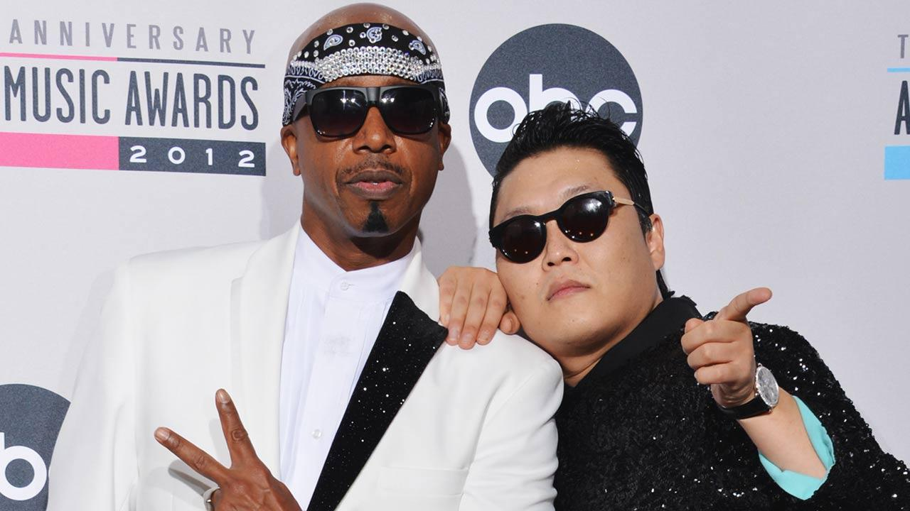 M.C. Hammer and PSY appear in a photo from the American Music Awards on November 18, 2013.