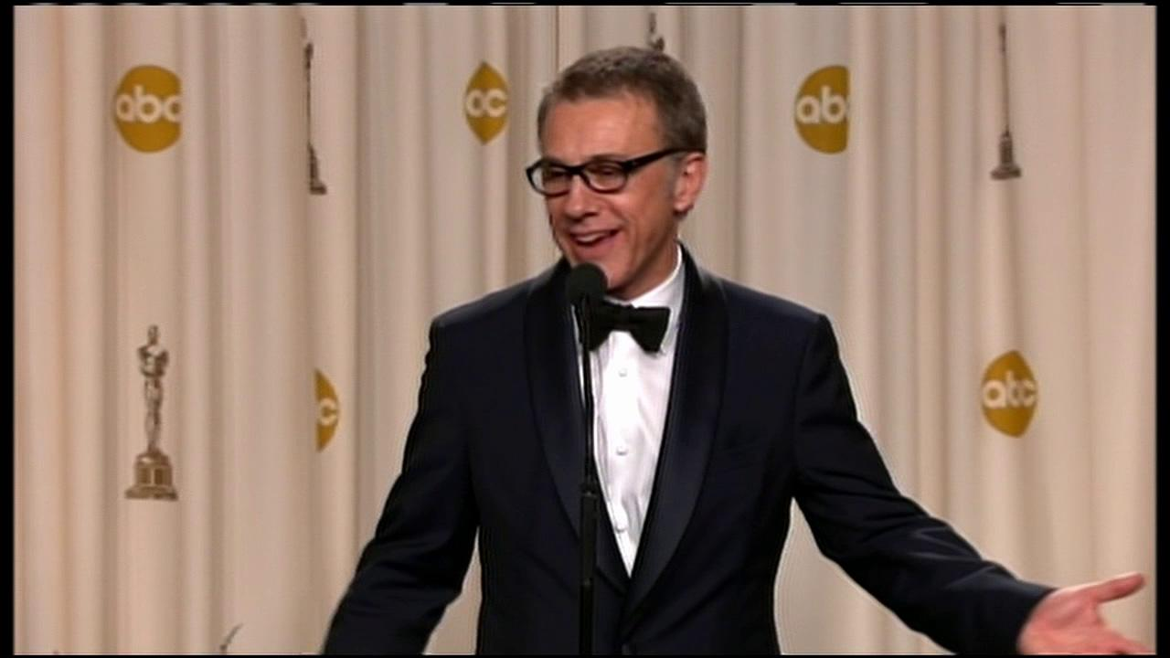 Christoph Waltz talks to press following his second Oscar win at the 85th Annual ceremony on February 24, 2013.