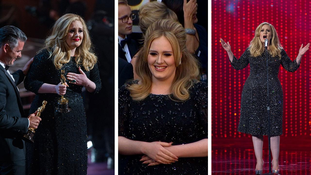 Adele holds her Oscar for Best Original Song at the 2013 Oscars on February 24. / Adele walks the red carpet at the 2013 Oscars. / Adele performs at the 2013 Oscars.