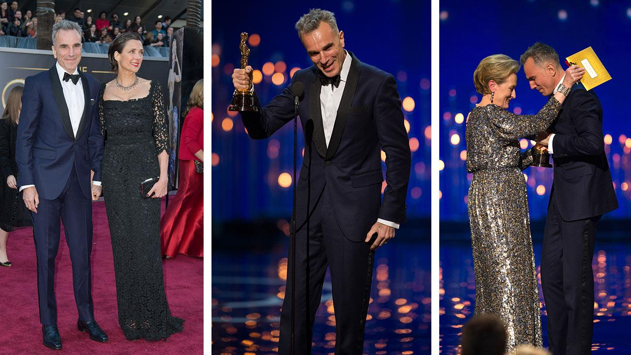 Daniel Day-Lewis and wife Rebecca appear on the red carpet at the 2013 Oscars. / Daniel Day-Lewis accepts his award for Best Actor in a Leading Role at the Oscars on February 24, 2013. / Meryl Streep presents Daniel Day-Lewis with his Oscar.
