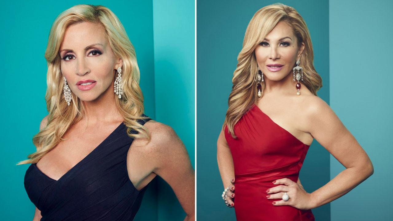 Adrienne Maloof and Camille Grammer appear in promotional photos for the third season of The Real Housewives of Beverly Hills in 2012.