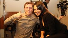 Chris Stark of BBC Radio 1s Scott Mills show appears with Mila Kunis in a photo posted on his Facebook page on March 4, 2013. - Provided courtesy of facebook.com/r1ChrisStark