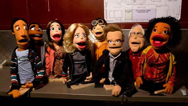 In a season 4 episode of Community titles Intro to Felt Surrogacy, the characters from the NBC show are shown as puppets. Pictured from L to R: Abed, Troy, Annie, Britta, Chang, Jeff, Pierce and Shirley. - Provided courtesy of Justin Lubin / NBC