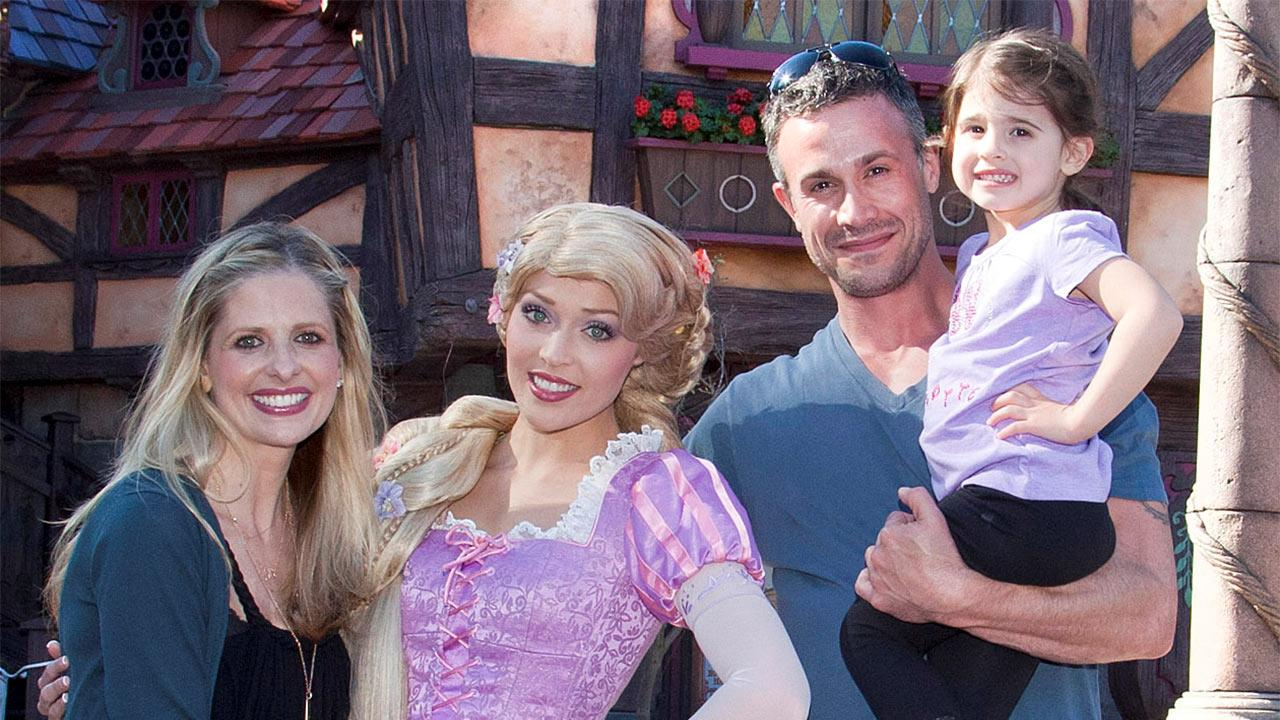 Sarah Michelle Gellar, Freddie Prinze Jr. and their daughter Charlotte, 3, meet Rapunzel at the all-new Fantasy Faire attraction at Disneyland park in Anaheim, California on Wednesday, March 6, 2013.Paul Hiffmeyer / Disneyland