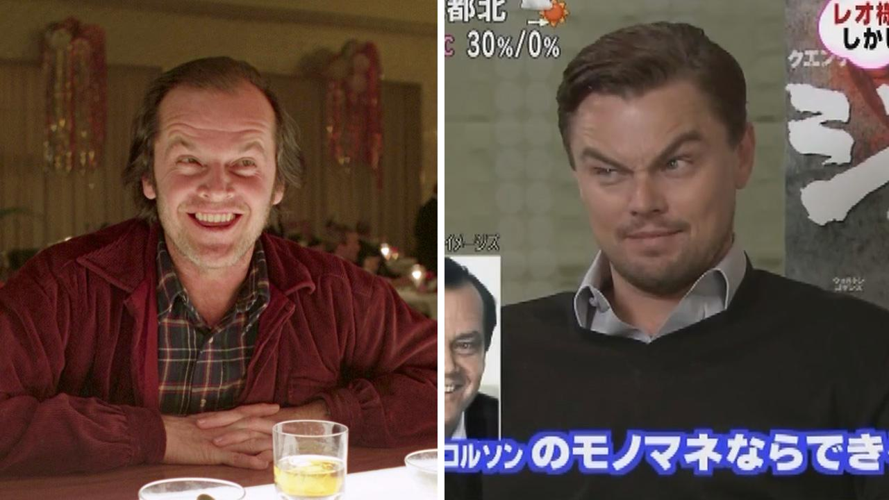 Jack Nicholson appears in a scene from the 1980 film The Shining. / Leonardo DiCaprio does his Jack Nicholson impression in an interview with a Japanese talk show host in a video uploaded on March 5, 2013.